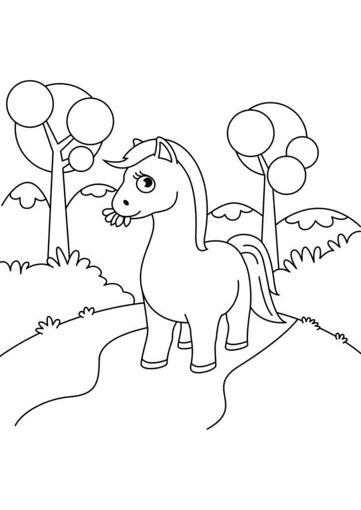 Omaľovánka - kôň - 18