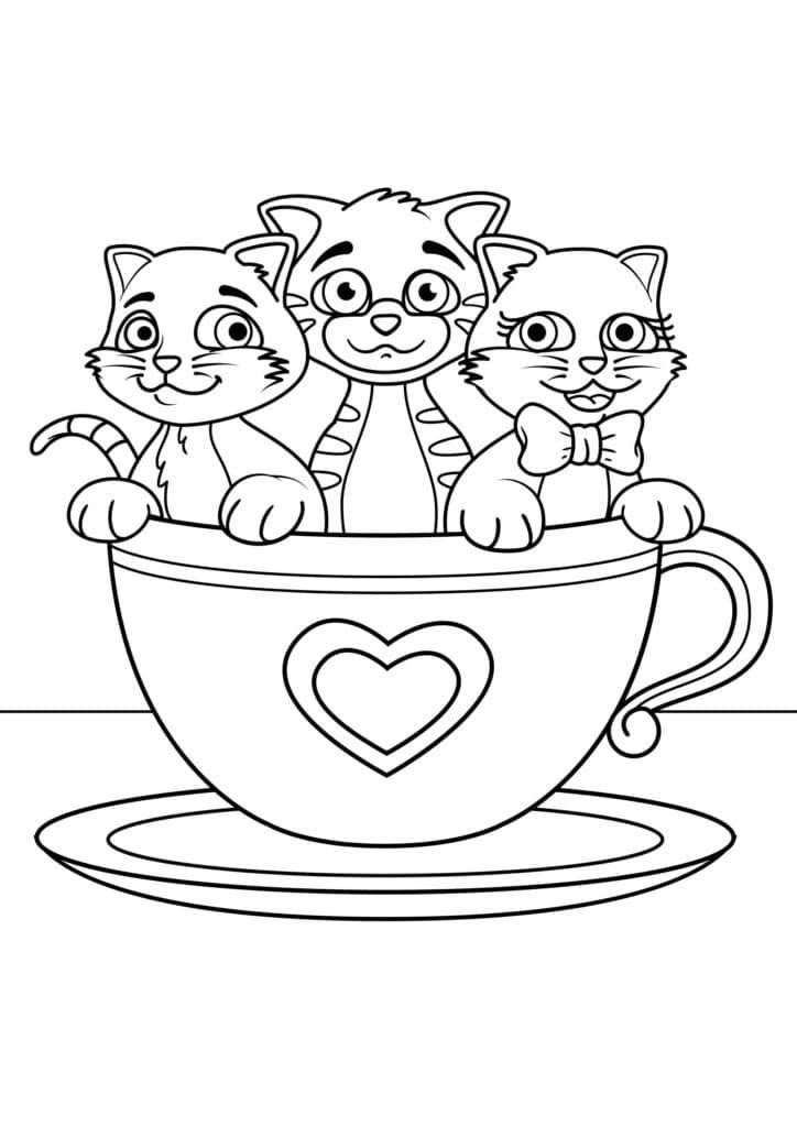 Omaľovánka - mačky - 13