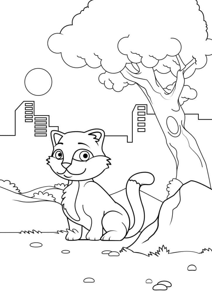 Omaľovánka - mačka - 16