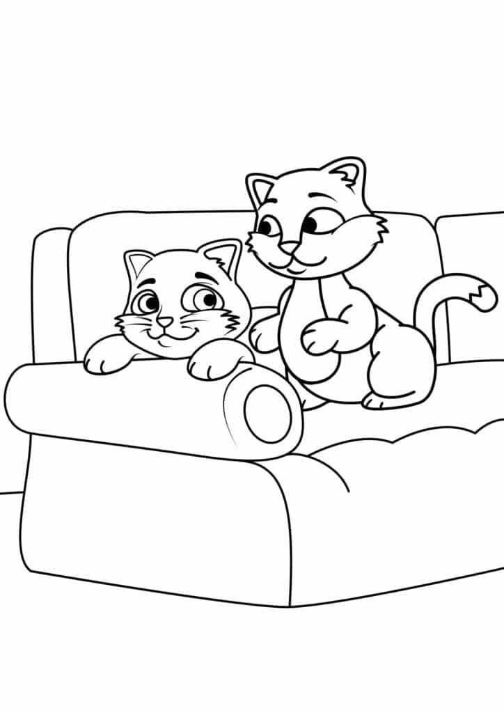 Omaľovánka - mačky - 21