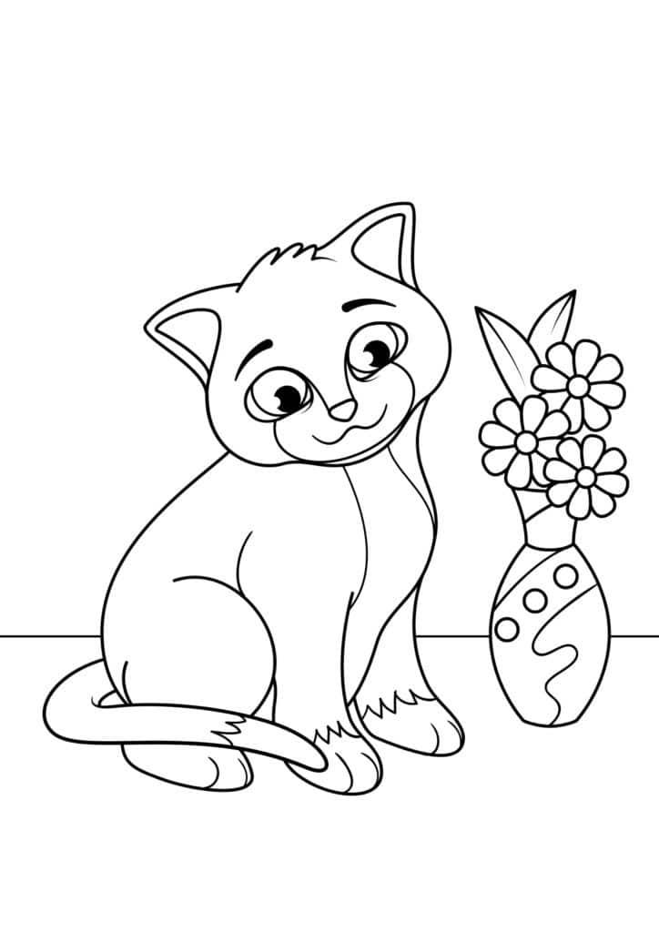 Omaľovánka - mačka - 3