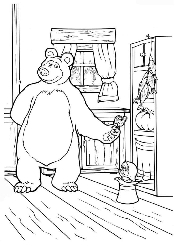 Omaľovánka - Máša a medveď - 1