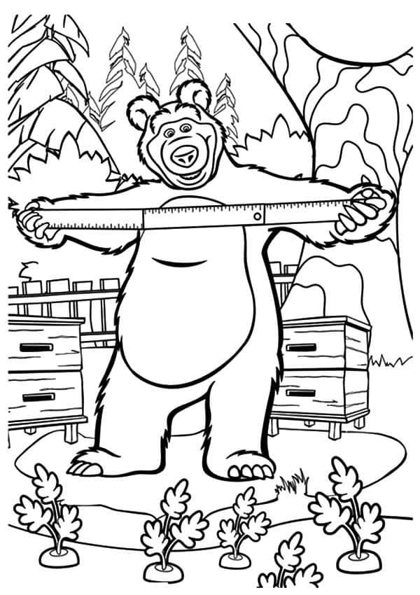 Omaľovánka - Máša a medveď - 2