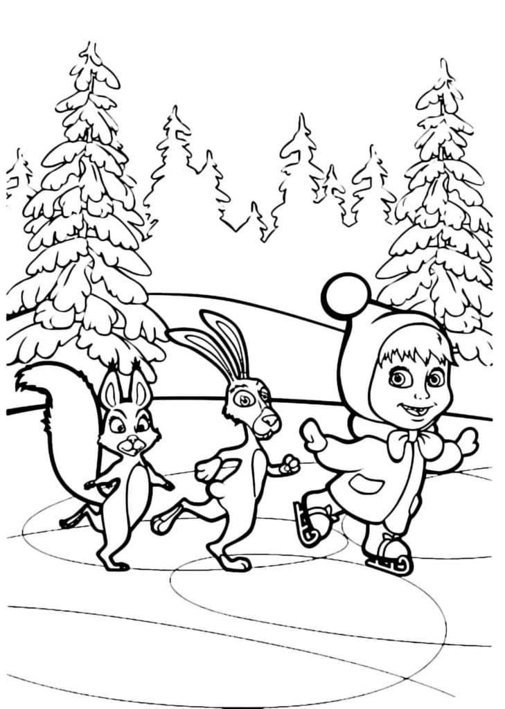 Omaľovánka - Máša a medveď - 22