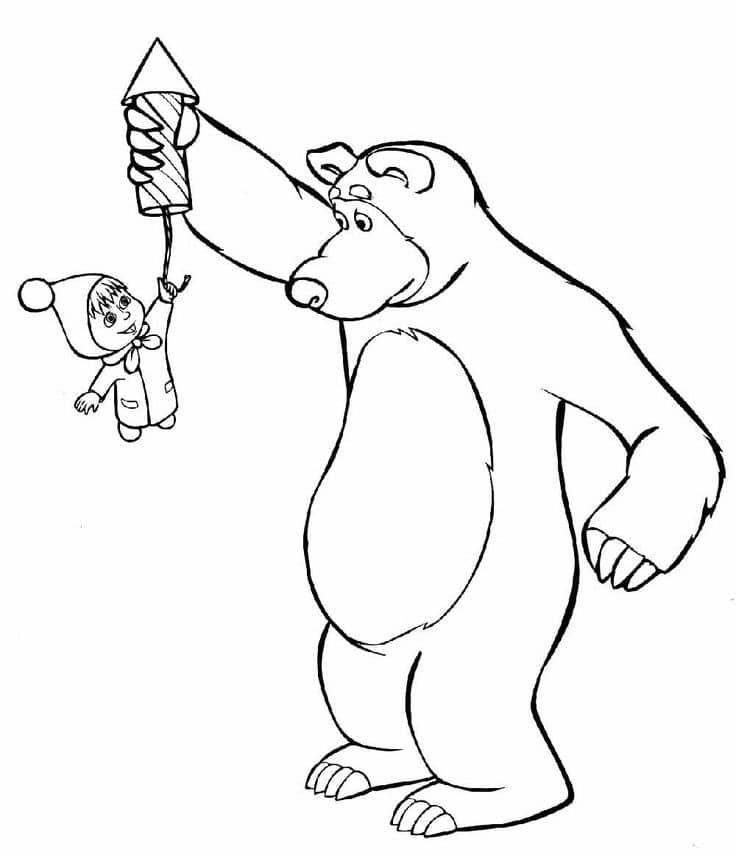 Omaľovánka - Máša a medveď - 26