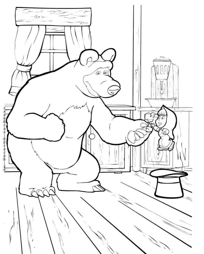 Omaľovánka - Máša a medveď - 7