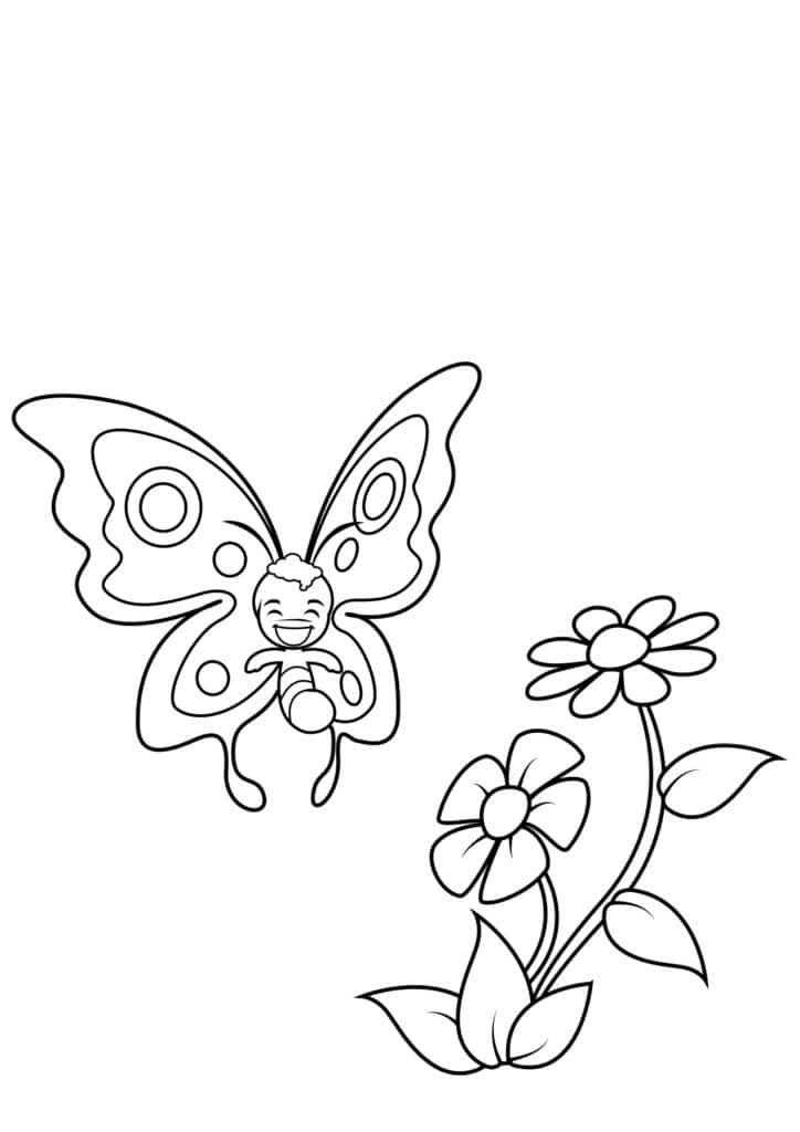 Omaľovánka - Motýľ - 1