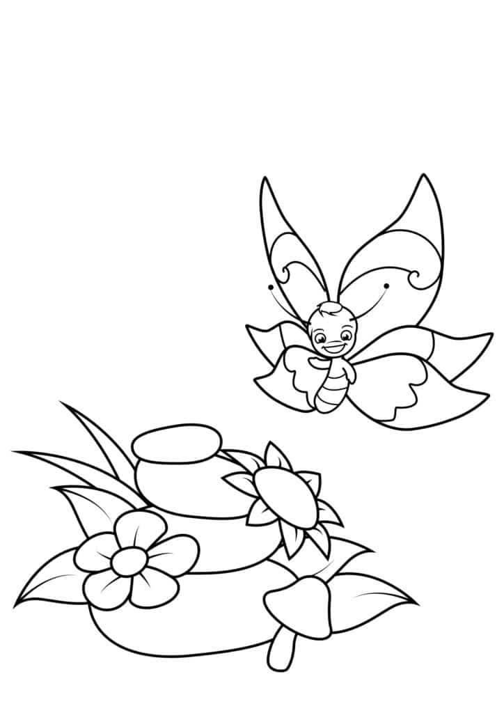 Omaľovánka - Motýľ - 2