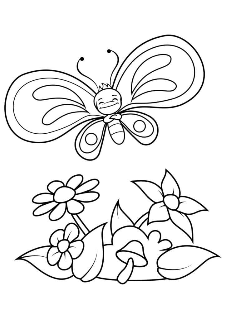 Omaľovánka - Motýľ - 5