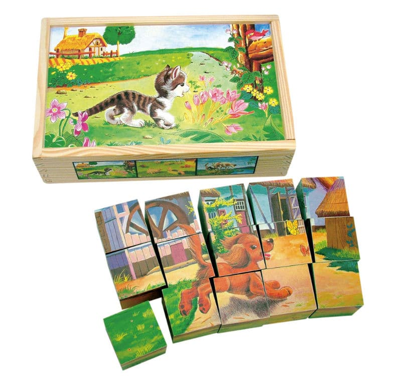 Drevené kocky - puzzle