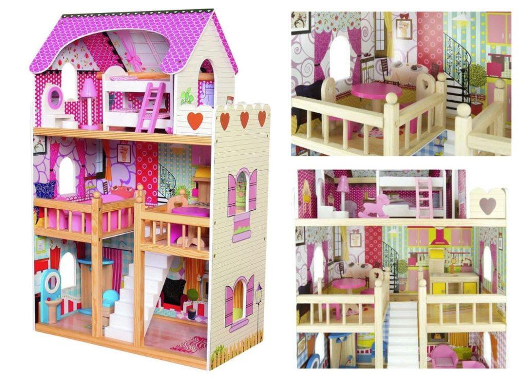 Drevený domček s nábytkom